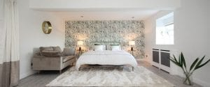 time for bed - bedroom with botanical wallpaper